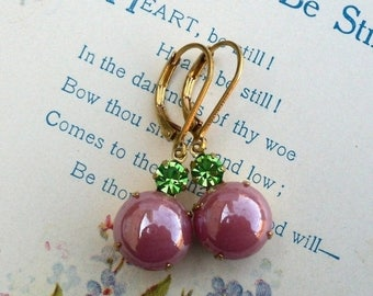 MOVING SALE On Sale Rose Berry Bubbles, Pearly Rose Glass Bubbles and Peridot Green Swarovski Crystal Rhinestone Jewel Earrings