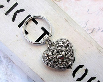 MOVING SALE Filigree Heart Keychain, Double Sided Silvertone Filigree Heart Hollow Keychain by Hollywood Hillbilly