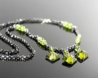 Dainty Olive Green Cubic Zirconia Necklace, Black Oxidized Sterling Silver Necklace, Diamond Shape Green Pendant Necklace, Delicate Jewelry
