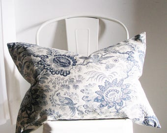 Indigo Floral - Decorative pillow Cover - 19X27 inch  - Lumbar - Pillow Sham - Navy Blue - Botanical - Japanese - cotton - ready to ship