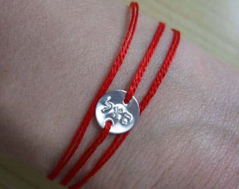 Kabbalah Hebrew Letter Tiny Disc Red String Bracelet Minimalist Jewelry Kabbalah Bracelet Personalized Bracelet Hand Stamped Sterling Silver