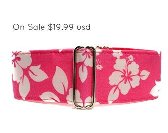 1.5 Inch Martingale Collar, Pink Martingale Collar, Hawaiian Martingale Collar Wide Dog Collar Hawaiian Dog Collar Greyhound Wide Dog Collar