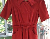 Vintage 1930s 1940s Dress Deep Red Corduroy Left Side Metal Zipper & Small Metal Zipper In Back At The Neck