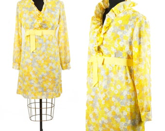 70s DYANNE PETITE DALLAS—Pale Yellow Floral Dress—Cotton Voile—Ruffle Yoke and Stand-Up Collar