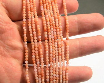 Peach Aventurine - 2mm round beads -  full strand - 182 beads - A Quality - PG38