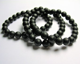 Black onyx matte - 8mm faceted round beads - 23 beads - 1 set - AA quality - HSG90