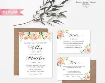 Printable Peach Cream Floral Wedding Invitation Set, Editable PDF Template, Wedding  Invites Suite,