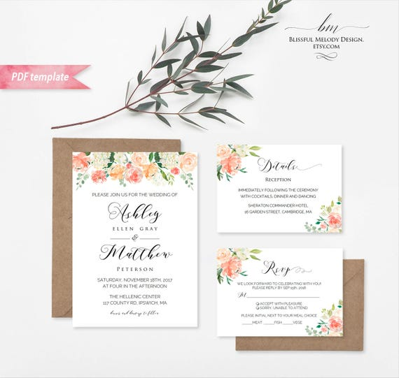 printable peach cream floral wedding invitation set editable pdf template wedding invites. Black Bedroom Furniture Sets. Home Design Ideas