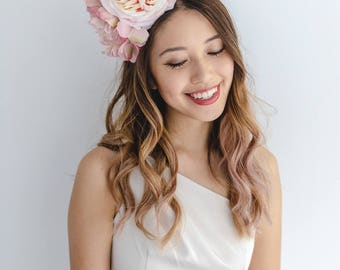 pale pink flower crown headband // spring racing statement flower crown / spring races flower crown headband / flower fascinator bohemian