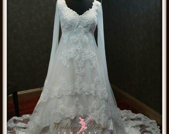 Gorgeous Wedding Dress With Chiffon Celtic Style Sleeves