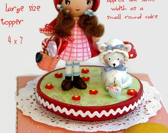 Little Red Riding Hood Party CakeTopper, Little Red Riding Hood Birthday, Handmade  Cake Decoration, Little Girl 1st First 2nd 3rd Birthday