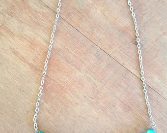 Turquoise Beaded Necklace Wire Bar Pendant Boho Simple Style
