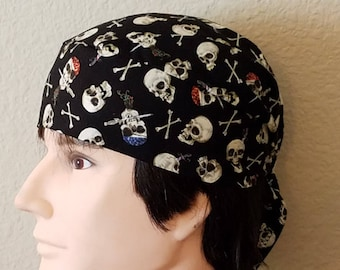Black Skull or Chemo Cap with Skulls with Beards, Bones, Hat, Hair Loss, Bald, Head Wrap, Do Rag, Hair Loss, Motorcycle, biker, Handmade,