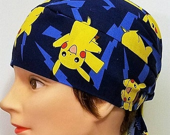 Handmade Pikachu Chemo Cap, Skull Cap, Surgical Cap, Hair Loss, Head Wrap, Children, Hat, Cancer, Alopecia, Helmet Liner, Motorcycle