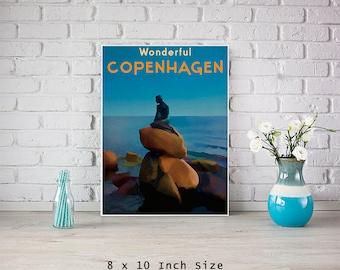 Copenhagen Print 8x10 Art Print Poster Little Mermaid Danish Retro Art Denmark Travel Poster Vintage Style Blue Wall Art