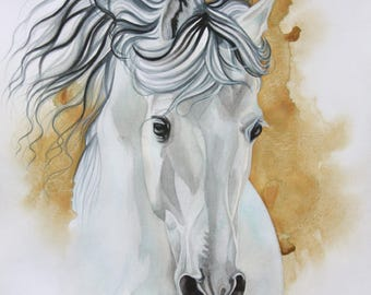 Andalusian Horse, Andalusier, watercolor portrait, stallion, Hengst, Aquarell, Gold & white, animals, pets, equine art, Schimmel