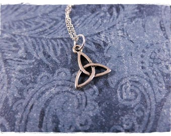 Silver Trinity Knot Necklace - Sterling Silver Trinity Knot Charm on a Delicate Sterling Silver Cable Chain or Charm Only