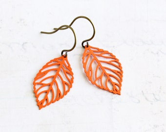 Orange Leaf Earrings, Small Dangle Earrings, Orange Earrings with Antiqued Brass Hooks, Autumn Jewelry