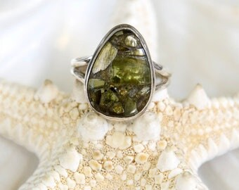 Peridont in Pyrite Ring - Size: 8.5