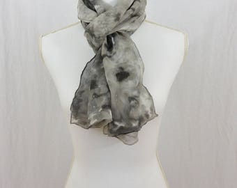 Hand Painted Chiffon Silk Scarf, Gray and Black, Goth, Dark Mori, OOAK, One of a kind, Artsy, Minimalist, Gift for her