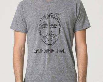 Tupac Shakur 2Pac California Love All Eyez on Me Unisex T-Shirt (2 colors available - Gray or Peach Triblend)