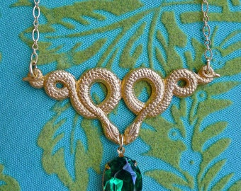 Serpentine // Gold Snake Necklace with Vintage Emerald Green Swarovski Crystal, Art Deco Retro Bohemian Gypsy Witch Occult Fantasy Cosplay