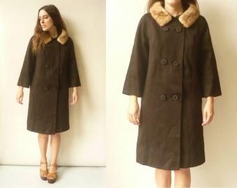 1950's Vintage Wool Mix Princess Swing Coat With Mink Fur Collar Size Medium
