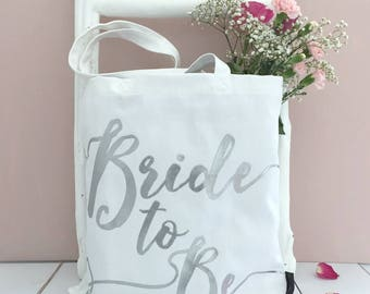 Bride To Be | Bride Bag | Silver On White | Engagement Gift | Bridal Shower Gift