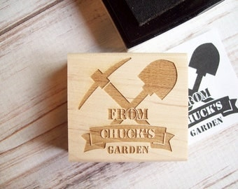 Personalized Father's Day Stamp From the Garden Of, Custom Rubber Stamp