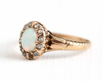 Antique 14k Rosy Yellow Gold Opal & Rose Cut Diamond Halo Ring - Size 8 Late 1800s Vintage Victorian Cluster Gemstone Fine Jewelry