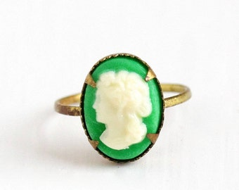 Sale - Vintage Brass Green & White Lucite Cameo Czech Ring - 1930s Size 5 Art Deco Made in Czechoslovakia Children's Dainty Costume Jewelry