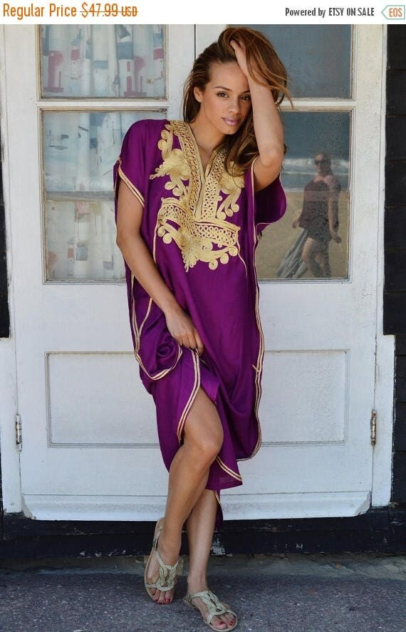 KAFTAN 20% SALE/ Plum Purple with Gold Marrakech Resort Caftan Kaftan -beach cover ups, resortwear,loungewear, maxi dresses, birthdays