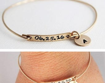 stamped date and initial bangle bracelet, push present for new mom, gold date bracelet, stacking bangle, birthdate jewelry, malisay designs