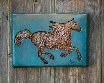 Horse Gift Wall Plaque, Horse Art, Horse Decor, Horse Gift, Horse Outdoor Wall Art, Galloping Horse Sculpture, Wild Horses Stone Art