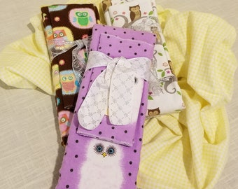 Infant Receiving Blanket Set - Owls