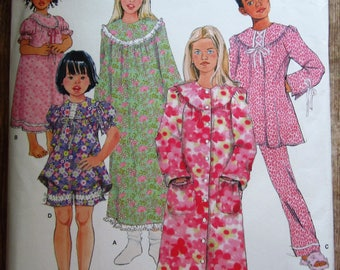 Easy to Sew Girls Nightgown, Robe and Long or Short Pajamas Sizes 7 8 10 12 14 Simplicity Pattern 1571 UNCUT
