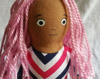 Small Soft Doll with Yarn Hair (chevron top)