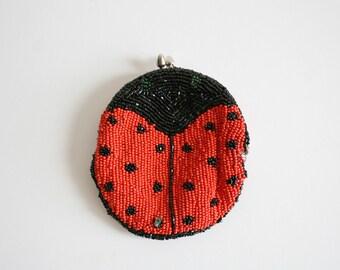 Beaded Ladybug Kisslock Pouch