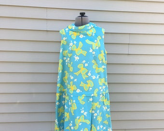 Vintage 60s Bow Pattern Jumper / Blue Green Yellow Skort / One Piece Printed Romper / Large