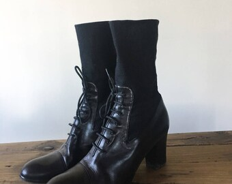 Vintage 80s Black Leather High Heel Sock Boots, Stacked Heel, Lace Up Boots, Tall Boots, Slouch Boots, Made In Italy, Size 39.5, Size 9