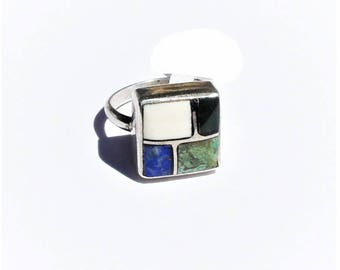 Vintage mid Century Sterling Silver Lapis Turquoise Onyx Inlay Ring sz 5