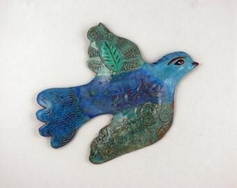 Large Ceramic Wall Bird   Clay Bird   Colorful Ceramic Art   Bird Art   Animal Art   Ceramic Animals   Clay Birds   Wall Art