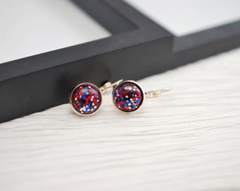 Red White and Blue, Rose Gold Earrings, Rose Gold Jewelry, 4th of July, Rose Gold, Leverback Earrings, Lever Back Earrings, Glitter Earrings