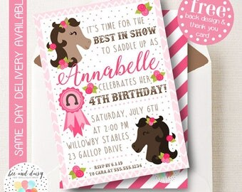 Best In Show Horse Birthday Invitation, Horse Party Invitation, Horse Birthday Party Invitation, Girls Printable Party Invite by BeeAndDaisy