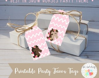 Horse Favor Tags INSTANT DOWNLOAD, Horse Birthday Party, Horse Baby Shower, Horse Gift Tags, Horse Printable Party Decorations