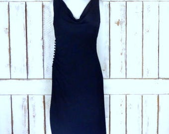 Vintage 90s black fitted stretch sleeveless cowl neck cocktail dress/fitted stretchy black evening dress/White House/Black Market/8