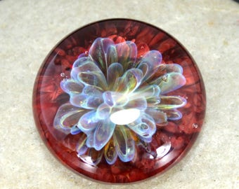 Red Implosion Cabochon - Lampwork Glass Cabochon - Jewelry Making Supply - 25mm