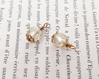 Clear Beige Czech Glass Baubles Instant Earrings Relic Charm
