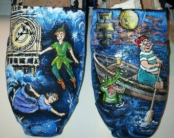 Peter Pan hand painted Shoes Sneakers Converse Toms or any brand you like peter pan with Smee All over artwork Layers of shade and color