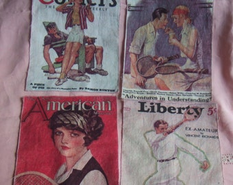 "4 Vintage Salvaged Fabric Panels. About 12"" by 8 1/2"" Each.  1930's Covers of Colliers, Liberty and American Magazines. Tennis Players."